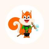Lokalisiertes orange Eichhörnchen mit Moppvektorlogo Reinigungsfirmengeschäftsemblem Lizenzfreie Stockfotografie