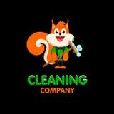 Lokalisiertes orange Eichhörnchen mit Moppvektorlogo Reinigungsfirmengeschäftsemblem Lizenzfreies Stockfoto