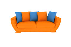 Lokalisiertes orange Sofa Lizenzfreie Stockfotos