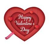 Lokalisiertes Papierherz mit hängenden roten Papierherzen und einem rosa Band Vielschichtiges Herz 3d Minimaler Hintergrund des V lizenzfreie abbildung