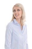 Lokalisiertes Porträt der hübschen lächelnden Frau auf Weiß. Stockbilder