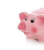 Lokalisiertes rosa Sparschwein auf weißem Hintergrund. Lizenzfreie Stockfotos