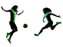 Lokalisiertes Schattenbild der Frauenfußballspieler Stockfotos
