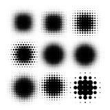 Lokalisiertes schwarzes Halbton der runden Form der Farbzusammenfassung punktierte Logosatz, punktiert dekorativen Elementsammlun lizenzfreie abbildung