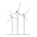 Lokalisiertes schwarzes Weiß des Windkraftanlageenergiebauernhofes vektor abbildung