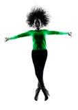 Lokalisiertes Springen der Frau Schattenbild glücklich Stockbild