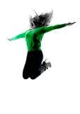 Lokalisiertes Springen der Frau Schattenbild glücklich Lizenzfreies Stockbild