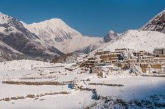 Lokalisiertes tibetian Bergdorf im Himalaja Stockfotografie