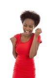 Lokalisiertes Zujubeln und erfolgreiche junge afroe-amerikanisch schwarze Frau stockbild