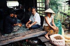 lokalna kobieta w tradycyjnym conical kapeluszowym sprzedawanie tytoniu przy wioska rynkiem obok Mekong rzeki z jej rodzinnym obs obrazy stock