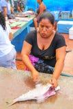 Lokalna kobiety rozcięcia ryba przy rynkiem w Puerto Ayora na Santa Fotografia Stock