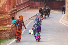 Lokalne kobiety chodzi wzdłuż ściany Taj Mahal kompleks w Agra, Zdjęcie Stock