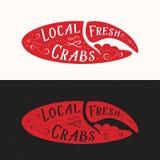 Lokalny Świeży kraba znak Owoce morza Abstrakcjonistyczny Wektorowy emblemat, ikona lub loga szablon, Czerwona kraba pazura sylwe ilustracja wektor