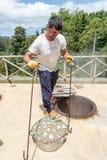 Lokalny Azorean posiłek przygotowywał w powulkanicznych hotsprings na wyspie Sao Miguel, Portugalia Obraz Stock