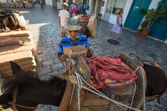 Lokalny mężczyzna ładuje gonty na ośle Obraz Royalty Free