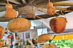 Lokalny owoc sklep, handlowiec w Princeton, kolumbiowie brytyjska Ładna dekoracja z banią, groud, owoc Fotografia Stock