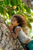 Lokalt flickasammanträde på en palmträd i den Lavena byn, Taveuni Isl arkivbild