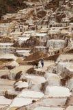 Lokalt folk som arbetar på Salt damm, Maras, Peru Arkivfoton