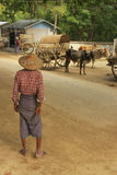 Lokalt mananseende i gatan, Mingun, Myanmar Royaltyfri Foto