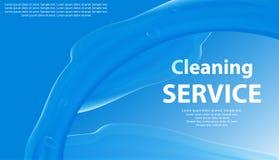 Lokalvård eller blå bakgrund för tvätteriservice med en färgstänk av vatten Baner eller affisch för renlighet vektor royaltyfri illustrationer