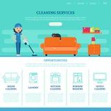 Lokalvård Företag webbsidamall royaltyfri illustrationer