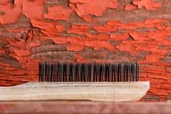 Lokalvårdborste mot röd målad bakgrund royaltyfri bild