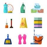 Lokalvårdsymboler ställde in med golvmopptvål och handskar Arkivbild