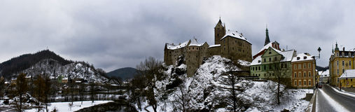 Loket Castle in Czechia. Panorama of Loket Castle in Czechia in wintertime Royalty Free Stock Images