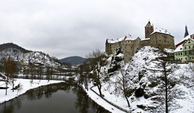 Loket Castle in Czechia. Panorama of Loket Castle in Czechia in wintertime Royalty Free Stock Photography