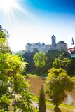 Loket castle on the hill and river Royalty Free Stock Photos