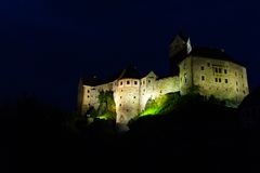 Loket castle at night,Czech Republic Royalty Free Stock Photos