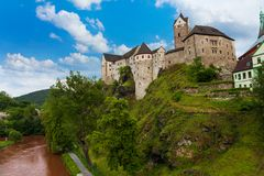 Loket castle and river Stock Photography