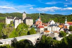 Loket Castle. With town, Czech Republic Royalty Free Stock Photo