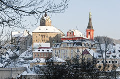 Loket city in winter, Czech republic with castle view Stock Photography