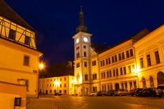 Loket main square and church at night Royalty Free Stock Photography