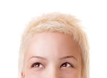 Loking Up!. Young short hair, blond woman looking up Royalty Free Stock Images