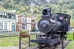 Lokomotiv 52 för ångamotor i Skagway Alaska fotografering för bildbyråer