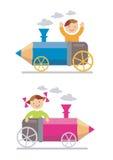 lokomotiv för pojkecrayonflicka stock illustrationer