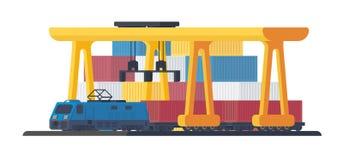 Lokomotiv för trans.gods vid järnvägen royaltyfri illustrationer