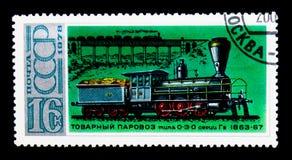 Lokomotiv 0-3-0 Gv, historia av rysk lokomotivserie, circa 1978 Fotografering för Bildbyråer