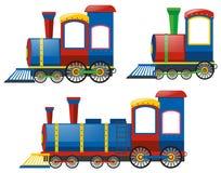 Lokomotiv i tre designer stock illustrationer