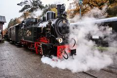 Lokomotiv med ånga Arkivfoto