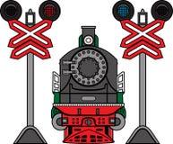 Lokomotiv och semaforer Arkivfoto