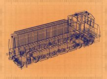 Lokomotiv - Retro ritning stock illustrationer