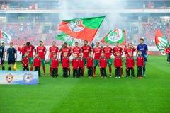Lokomotiv team before the soccer game Stock Photos