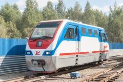 Lokomotiv TU10-011 på barns järnväg. Ryssland Fotografering för Bildbyråer