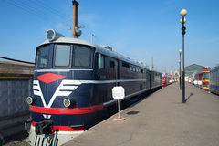 Lokomotive ТE7-013 im Museum der Oktyabrskaya-Eisenbahn Lizenzfreies Stockbild