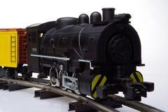 Lokomotive auf Schienen Stockfoto