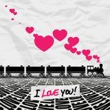 Lokomotive und Herzen. Lizenzfreies Stockfoto
