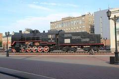 Lokomotivet Krasnoyarsk järnvägsstation Arkivfoton